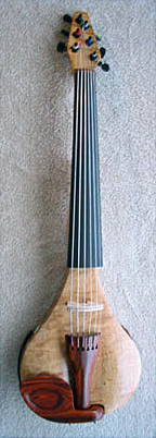 Oregon Curly Maple and Cocobolo Electric Six String Violin Front