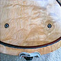 Oregon Curly Maple and Cocobolo Electric Six String Violin Lower Lower Back