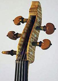 Oregon Tiger Striped Curly-Maple Electric Six String Violin Peg Box Top